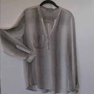 NY Collection Sheer Animal Print Women's Shirt XL